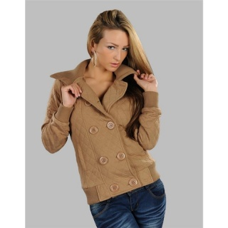 ELEGANT JACKET DIAMOND-PATTERNED BEIGE