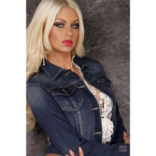 ELEGANT DENIM JACKET JEANS JACKET WITH ABRASIONS BLUE