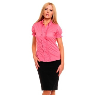 ELEGANT SHORT-SLEEVED BLOUSE WITH FRILLS SALMON