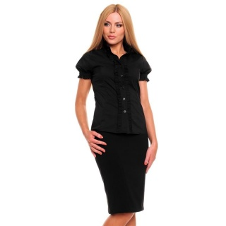 ELEGANT SHORT-SLEEVED BLOUSE WITH FRILLS BLACK