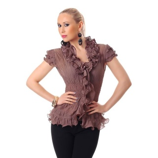 ELEGANT SHORT-SLEEVED CHIFFON BLOUSE WITH SWEET FRILLS CAPPUCCINO