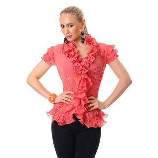 ELEGANT SHORT-SLEEVED CHIFFON BLOUSE WITH SWEET FRILLS CORAL