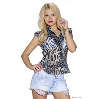 ELEGANT SHORT-SLEEVED CHIFFON BLOUSE WITH FRILLS LEOPARD/GREY