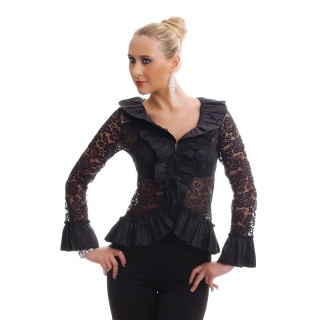 ELEGANT LONG-SLEEVED BLOUSE MADE OF LACE WITH FLOUNCES BLACK