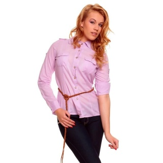 ELEGANT LONG-SLEEVED BLOUSE WITH BELT LILAC