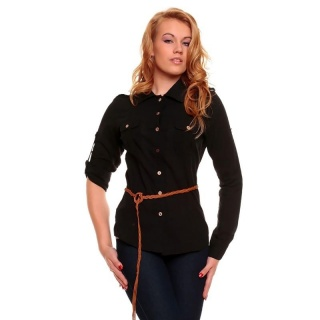ELEGANT LONG-SLEEVED BLOUSE WITH BELT BLACK