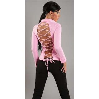 ELEGANT LONG-SLEEVED BLOUSE WITH LACING PINK