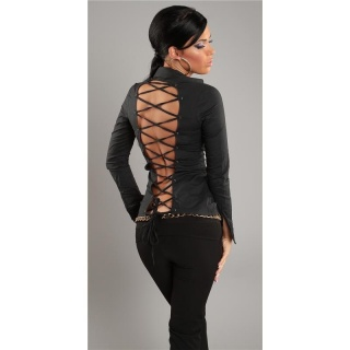 ELEGANT LONG-SLEEVED BLOUSE WITH LACING BLACK