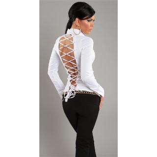 ELEGANT LONG-SLEEVED BLOUSE WITH LACING WHITE
