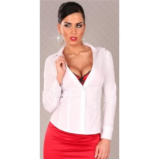 ELEGANT LONG-SLEEVED BLOUSE WHITE