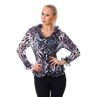 ELEGANT LONG-SLEEVED CHIFFON BLOUSE WITH FRILLS LEOPARD/GREY