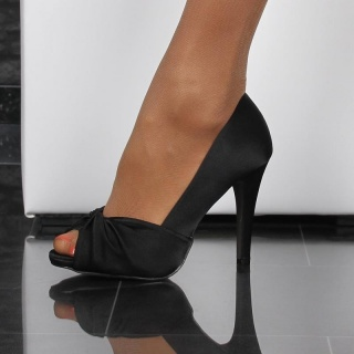 ELEGANT PEEP TOES HIGH HEELS PUMPS MADE OF SATIN BLACK