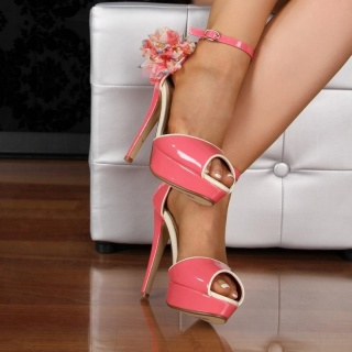 SEXY PEEP TOES PLATFORM HIGH HEELS SHOES WITH BLOOM CORAL