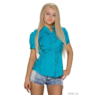 ELEGANT SHORT-SLEEVED BLOUSE WITH SWEET FRILLS PETROL