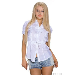 ELEGANT SHORT-SLEEVED BLOUSE WITH SWEET FRILLS WHITE
