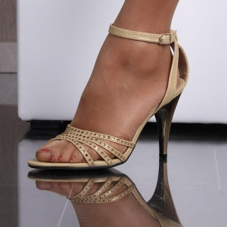 ELEGANT SANDALS EVENING SHOES WITH GLITTERING STONES GOLD