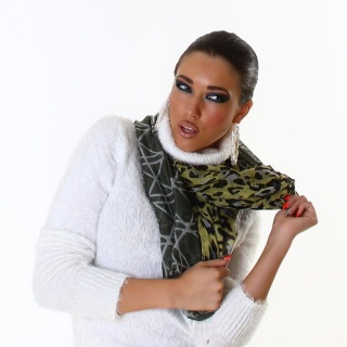 ELEGANT SUMMER TUBE SCARF IN LEO-LOOK YELLOW