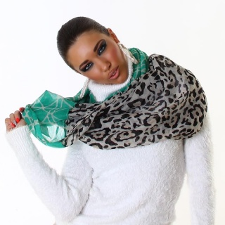 ELEGANT SUMMER TUBE SCARF IN LEO-LOOK GREEN