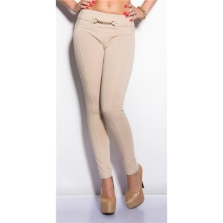ELEGANT STRETCH PANTS WITH LACE BEIGE