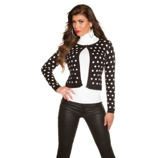 ELEGANT FINE-KNITTED CARDIGAN JACKET WITH POLKA DOTS BLACK