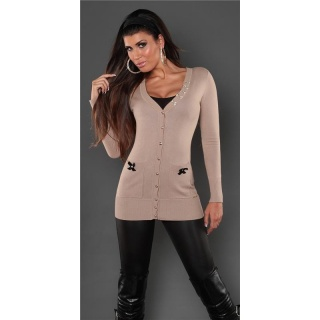 ELEGANT CARDIGAN JERSEY JACKET WITH SATIN-BOWS BEIGE