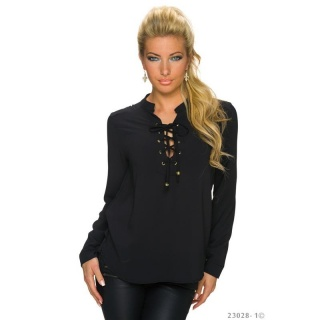 ELEGANT TRANSPARENT CHIFFON BLOUSE WITH LACING BLACK