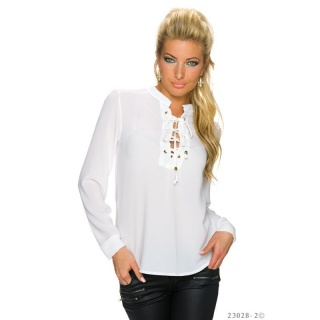ELEGANT TRANSPARENT CHIFFON BLOUSE WITH LACING WHITE