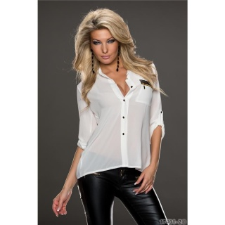 ELEGANT TRANSPARENT CHIFFON BLOUSE WITH ZIPPER-POCKET WHITE