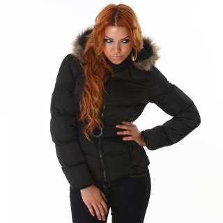 EXCLUSIVE WADDED WINTER JACKET WITH HOOD BELT BLACK