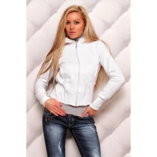 ELEGANT CUDDLY SWEAT-JACKET WITH EMBROIDERY FAKE FUR WHITE