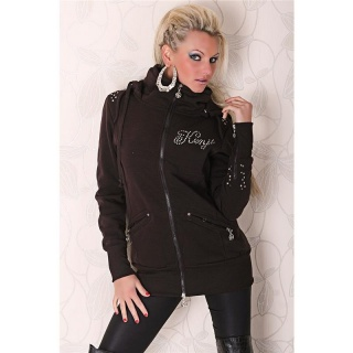BEAUTIFUL JACKET WITH HOOD AND RIVETS BROWN