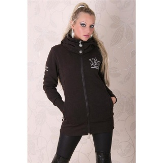 BEAUTIFUL JACKET WITH HOOD AND SILVER PRINT BROWN