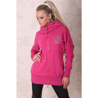 BEAUTIFUL JACKET WITH HOOD AND SILVER PRINT FUCHSIA