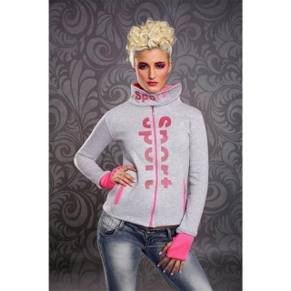 ELEGANT ZIPPER-JACKET WITH STANDING COLLAR GREY/NEON-FUCHSIA