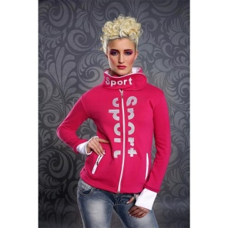 ELEGANT ZIPPER-JACKET WITH STANDING COLLAR FUCHSIA/WHITE