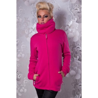 ELEGANT ZIPPER-JACKET WITH STANDING COLLAR FUCHSIA