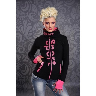 ELEGANT ZIPPER-JACKET WITH STANDING COLLAR BLACK/NEON-FUCHSIA