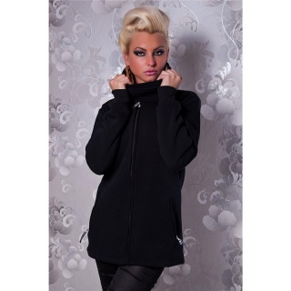 ELEGANT ZIPPER-JACKET WITH STANDING COLLAR BLACK