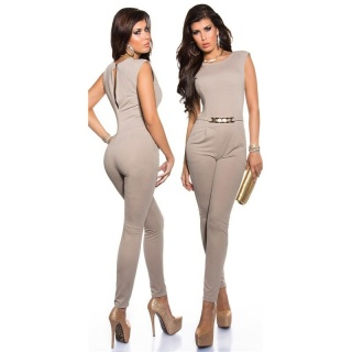 ELEGANT SLEEVELESS OVERALL JUMPSUIT WITH GOLD-COLOURED BUCKLE BEIGE