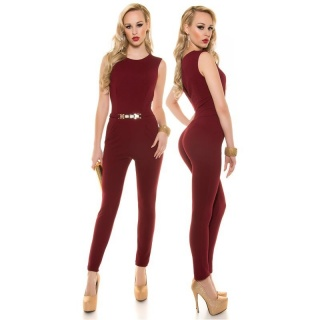 ELEGANT SLEEVELESS OVERALL JUMPSUIT WITH GOLD-COLOURED BUCKLE WINE-RED