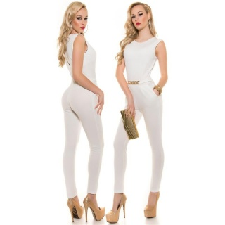 ELEGANT SLEEVELESS OVERALL JUMPSUIT WITH GOLD-COLOURED BUCKLE CREAM