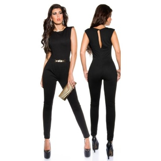 ELEGANT SLEEVELESS OVERALL JUMPSUIT WITH GOLDEN BUCKLE BLACK