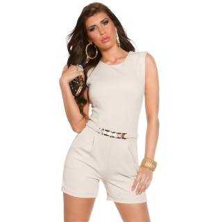 ELEGANT SLEEVELESS OVERALL PLAYSUIT WITH GOLDEN BUCKLE BEIGE
