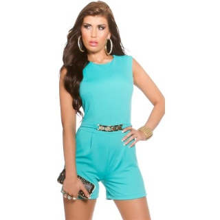 ELEGANT SLEEVELESS OVERALL PLAYSUIT WITH GOLD-COLOURED BUCKLE MINT GREEN