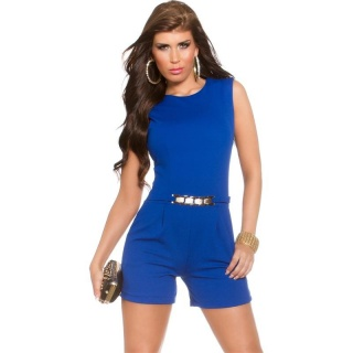 ELEGANT SLEEVELESS OVERALL PLAYSUIT WITH GOLDEN BUCKLE ROYAL BLUE