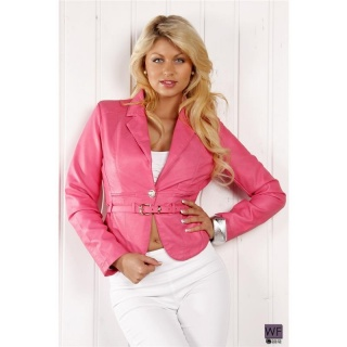 ELEGANT BLAZER JACKET LEATHER-LOOK WITH BELT FUCHSIA