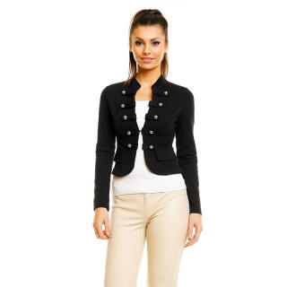 ELEGANT BLAZER JACKET WITH BUTTONS IN MILITARY-LOOK BLACK