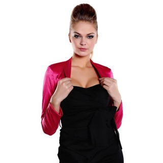 ELEGANT BOLERO MADE OF SHINY SATIN FUCHSIA