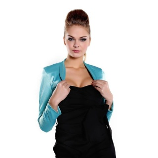 ELEGANT BOLERO MADE OF SHINY SATIN TURQUOISE