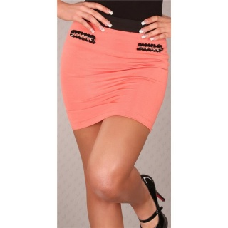 ELEGANT BUSINESS MINI SKIRT WITH CHAINS CORAL